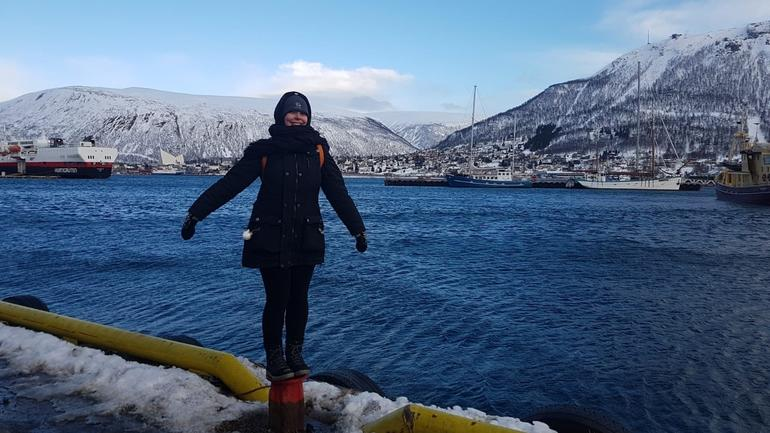 Riina in the north of Norway, standing next to the sea