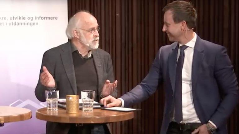 Rektor Petter Aasen på Nokut-frokost. Skjermdump