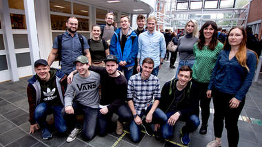 Gruppebilde av noen av ingeniørstudentene i Porsgrunn