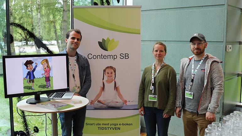 Adrian Sørli Tranås, Gitte Ous og Kim Andre Aasgaard i USN-studentbedriften Contemp under NM i studentbedrift 2019. foto.