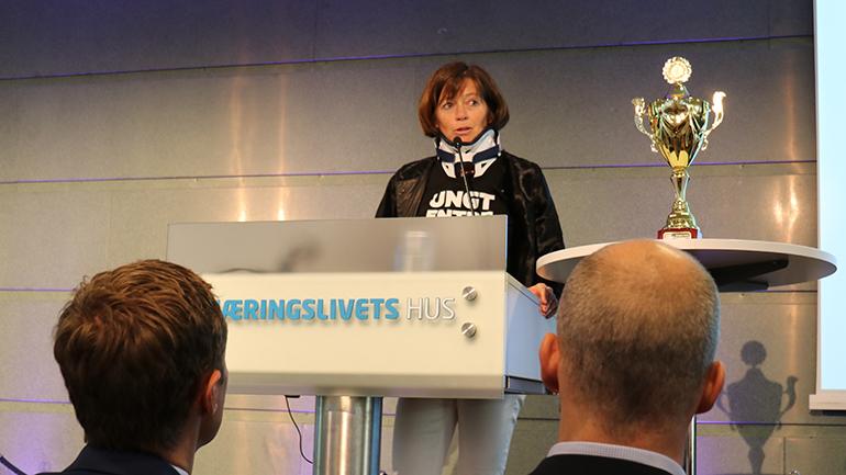 Grete Ingeborg Nykkelmo, daglig leder for Ungt entreprenørskap, under NM i studentbedrift 2019. foto.