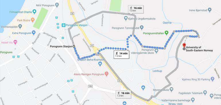 walking route from the train station to campus Porsgrunn