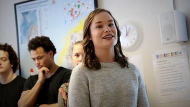 Da lærerstudent Trine Eline Aas skulle velge hvor hun skulle studere, ble det campus Porsgrunn. Foto av henne