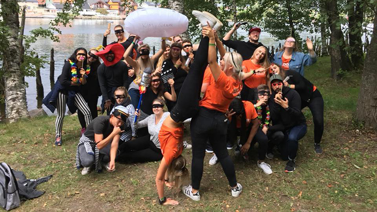 Studenter under fadderuka i Drammen 2018. foto.
