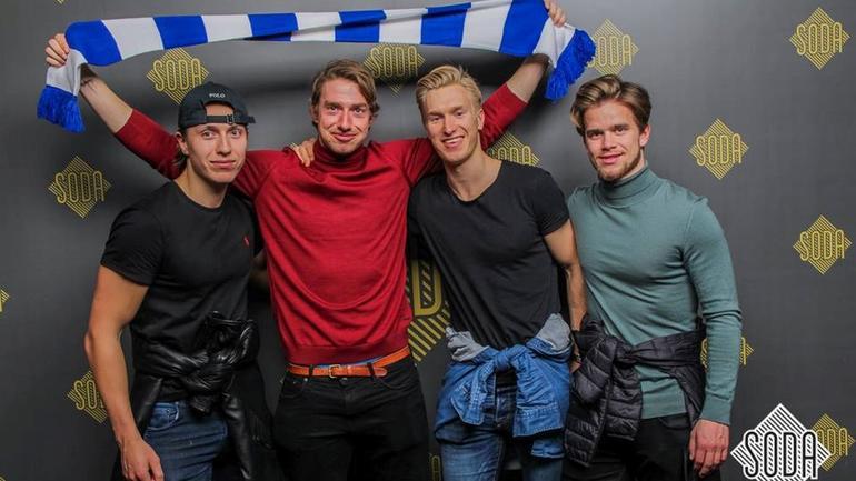 Jan Helge med nye venner fra utvekslingen i Berlin