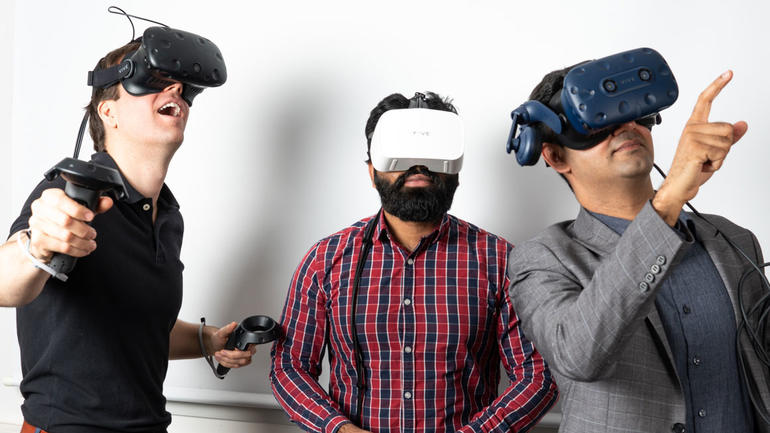 USN researchers with VR goggles