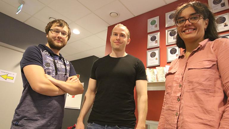 Stephane Kuziora, Kim Robert Gustavsen og Mojde Hasanzade på campus Vestfold. foto.