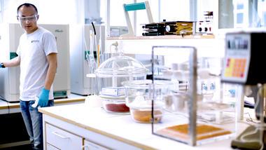 Mann i laboratorium. Illustrasjonsbilde