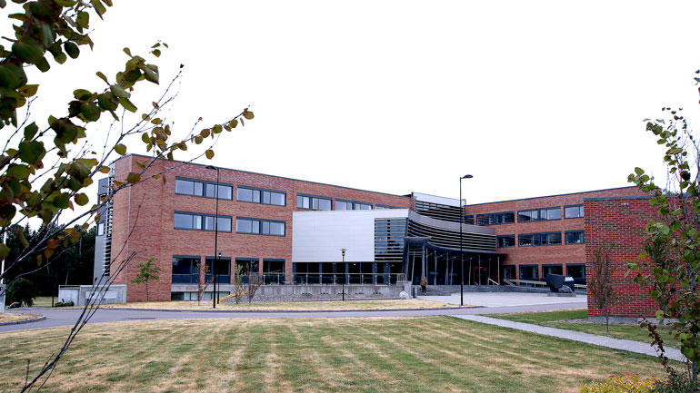 Bilde av bygningen utenfor. Forskningsparken ved campus Vestfold.