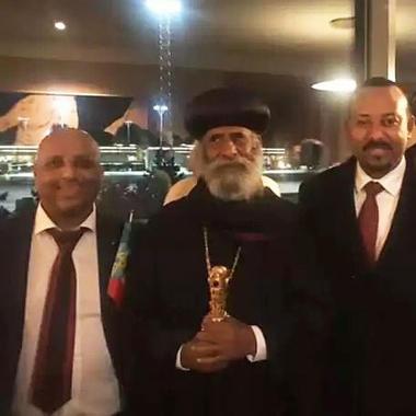 Førsteamanuensis Shegaw A. Mengiste møtte Etiopias statsminister Abiy Ahmed  Ali under fredsprisseremonien 10. desember. Foto av dem