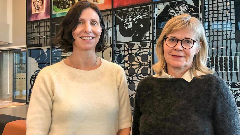 Førsteamanuensane Sigrun Wessel Svenkerud og Brit Bolken Ballangrud ved Institutt for pedagogikk.  Foto