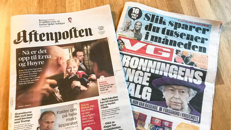 Bilde av avisforsider til VG og Aftenposten.