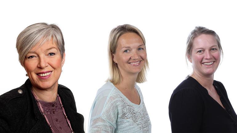 Nye toppledere ved USN, f.v: Gro Bratsberg, Pia Bing-Jonsson og Vibeke Bredahl. (Foto: Statsbygg / USN)