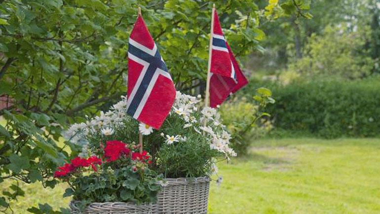 Bilde av to flagg og blomster