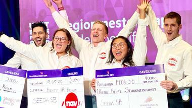 Seeda SB gikk av med seieren i årets regionsmesterskap for studentbedrifter. Foto av dem