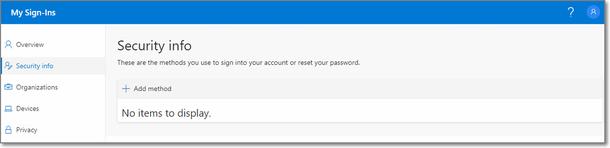 MFA security info