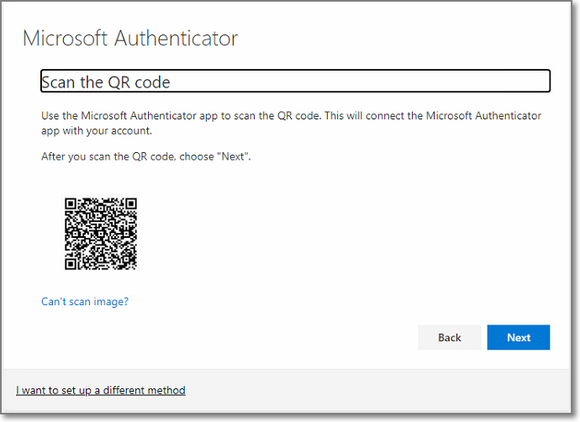 MFA - scan the QR code