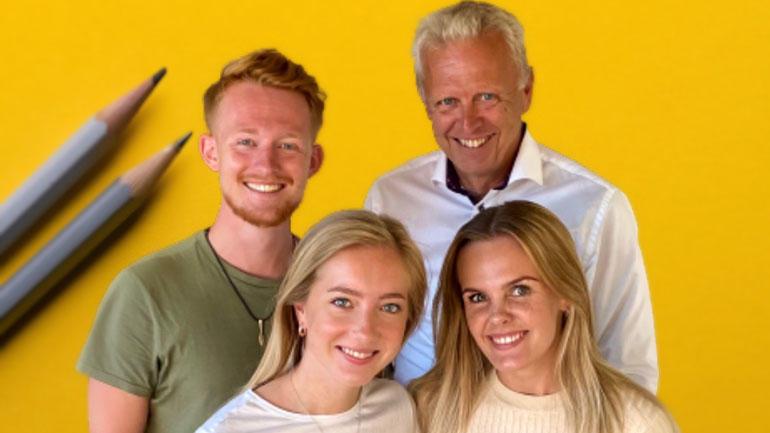 Podkasten MARK-IT drives av universitetslektor Terje Andersen ved USN Handelshøyskolen og tre av studentene hans.Foto av dem