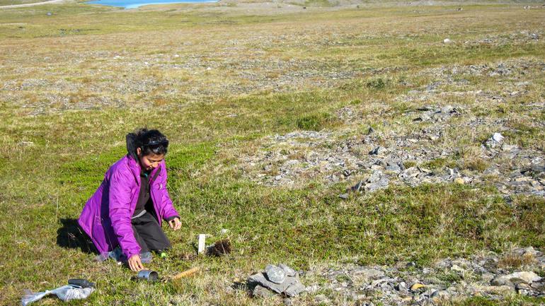 Doktorgradsstipendiat Gauri Bandekar tar jordprøvar på Nordkapp. (Foto: Arvid Odland)