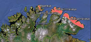 Kartet viser kva kystområde i Finnmark som vart klassifiserte som ein del av Arktisk sone E av ei internasjonal ekspertgruppe.