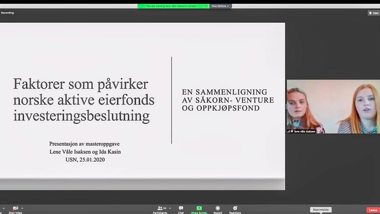 Lene Våle Isaksen og Ida Kasin vant prisen for beste masteravhandling i økonomi og ledelse på USN Handelshøyskolen i 2020, og presenterte funnene sine på Zoom.