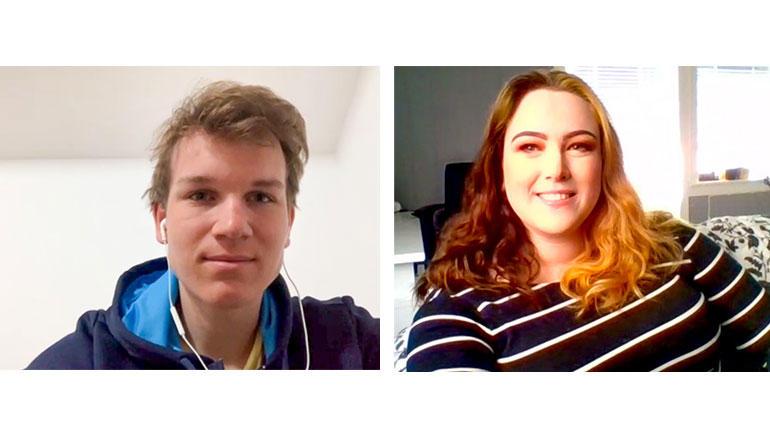 Anton Stensby og Thale Sølversen-Lunde Kjeldsen har prøvesmakt studentlivet med emnet Bærekraftig entreprenørskap, og vil fortsette med høyere utdanning. Foto fra Zoom-samtale