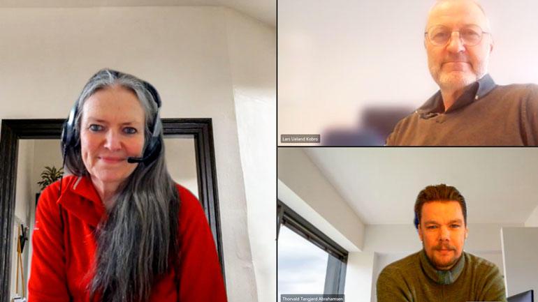 Lars Ueland Kobro har vært emneansvarlig for «Bærekraftig entreprenørskap», mens Linda Mowinckel Nilsen og Thorvald Tangjerd Abrahamsen har vært ansvarlige for den studieforberedende delen. Skjermdump/Zoom