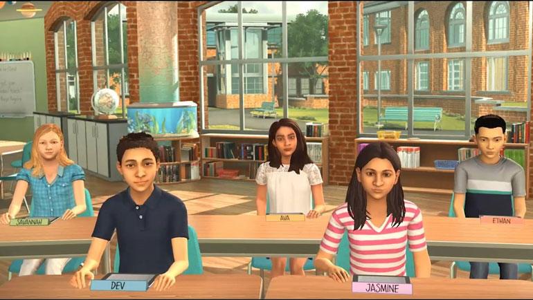 De fem elev-avatarene styres av en trent skuespiller som gir studentene utfordringer tilpasset deres ferdighetsnivå