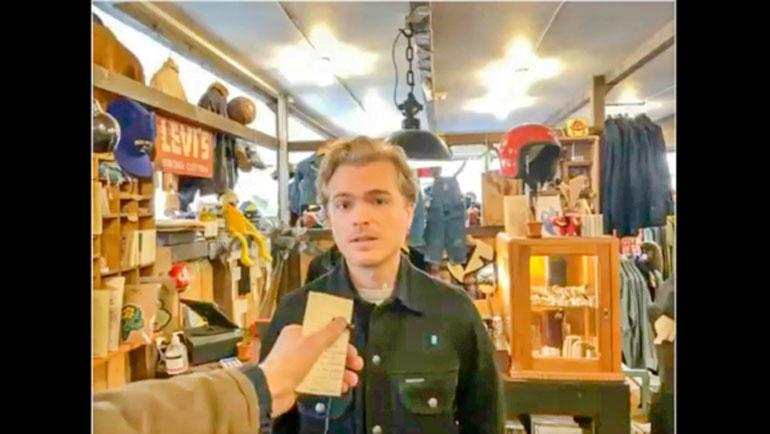Her intervjuet Per Strömberg Johan Østergård fra klesbutikken Second sunrise i Stockholm.Skjermdump fra Zoom