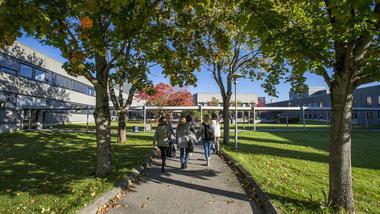 Students entering campus Porsgrunn. Photo