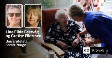 eldre kvinne får hjelp i hjemmet. Innfelte foto av Line Elida Festvåg og Grethe Eilertsen.