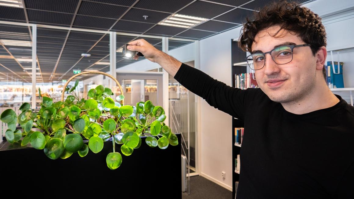 Ozan studerer lysdesign ved USN, belyser her en plante