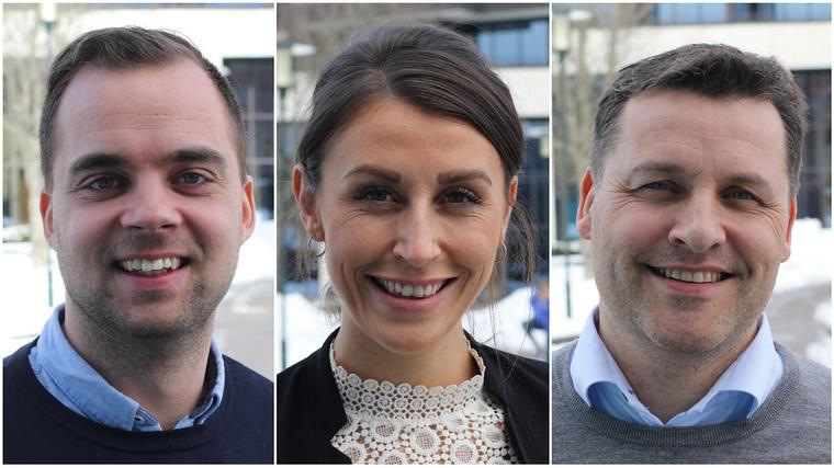 Eiendomsmeglerne Kristoffer Munksgaard, Tori Fremmerlid og Henrik Tangen forteller om eiendomsmegleryrket. (Foto: Stian Kristoffer Sande).