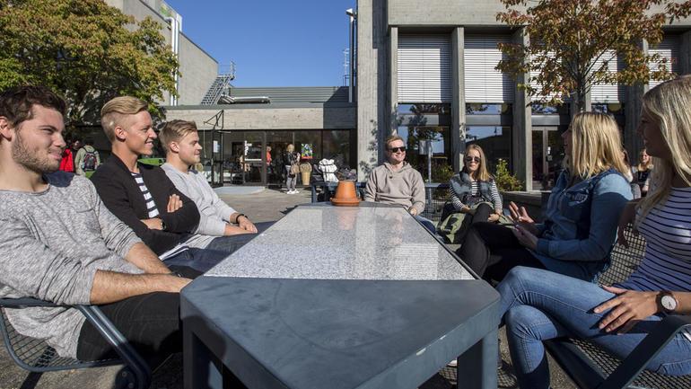Studenter koser seg rundt bordet i sola. Illustrasjonsbilde