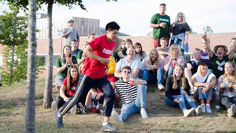 Studenter under Studiestartfestivalen 2018 på campus Vestfold. foto.