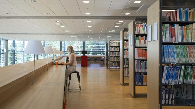 student på biblioteket i vestfold