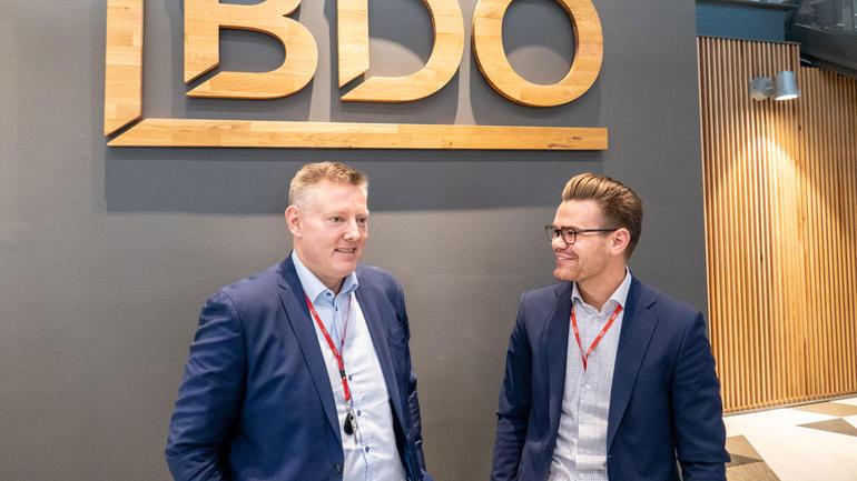 Regionsjef i BDO Kåre Rødssæteren og Benjamin From. Foto